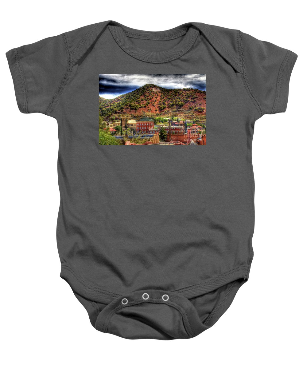 B Baby Onesie featuring the photograph B Hill Over Historic Bisbee by Charlene Mitchell