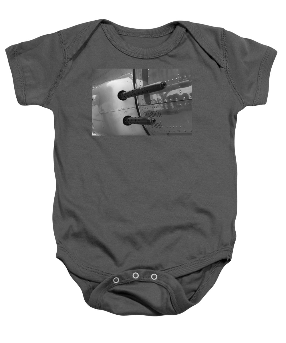 Flying Fortress Baby Onesie featuring the photograph B17 Bomber Side Guns by Thomas Woolworth