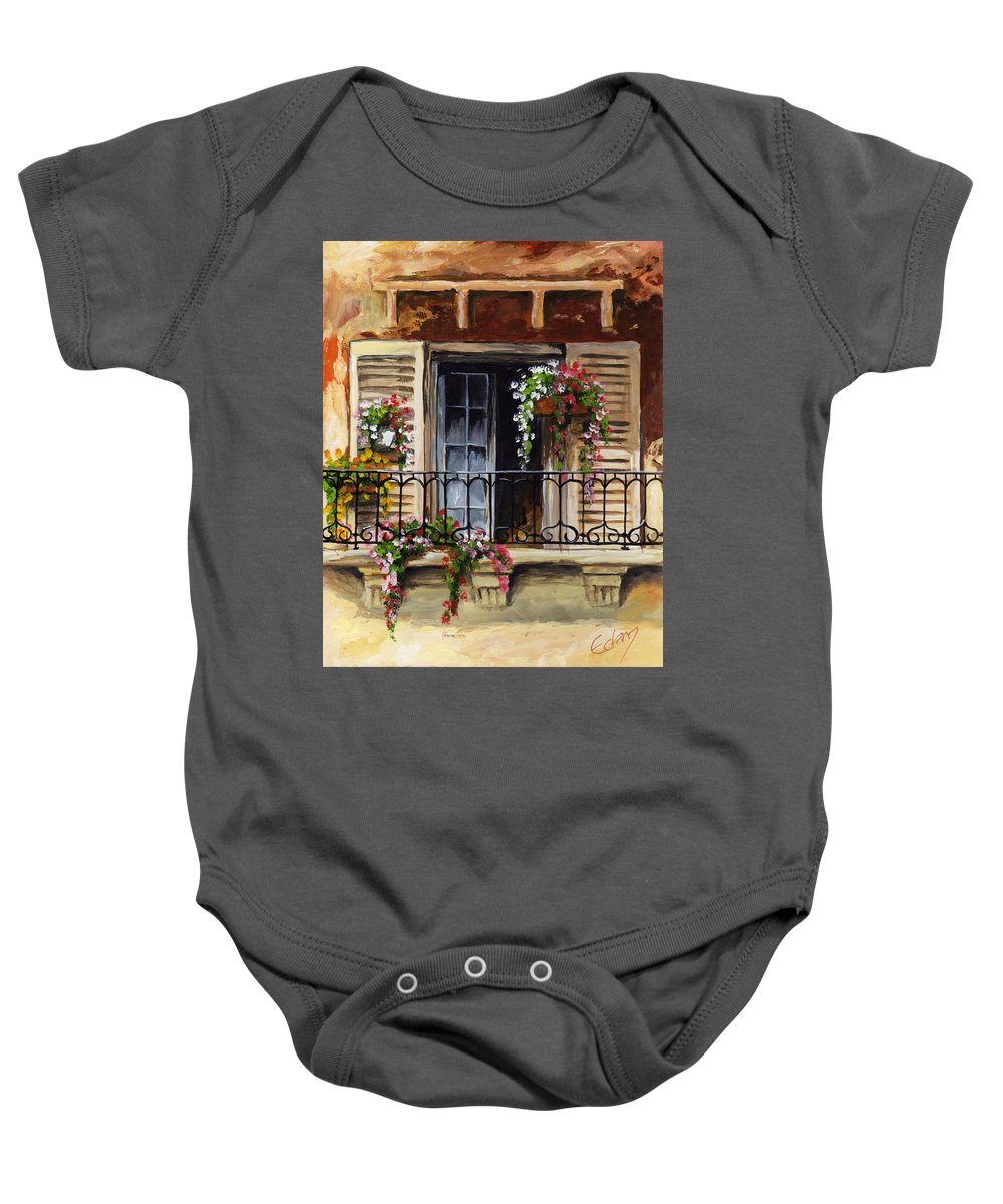 Balcony Baby Onesie featuring the painting Balcony Of Ferrara by Voros Edit