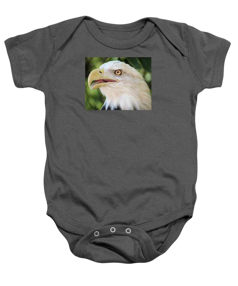 Eagle Baby Onesie featuring the photograph American Bald Eagle Portrait - Bright Eye by Patti Deters
