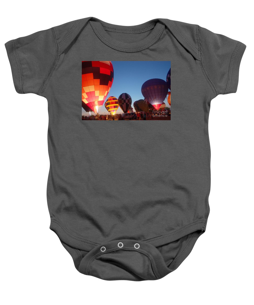 Hot Air Balloons Baby Onesie featuring the photograph Balloon-glow-7783 by Gary Gingrich Galleries
