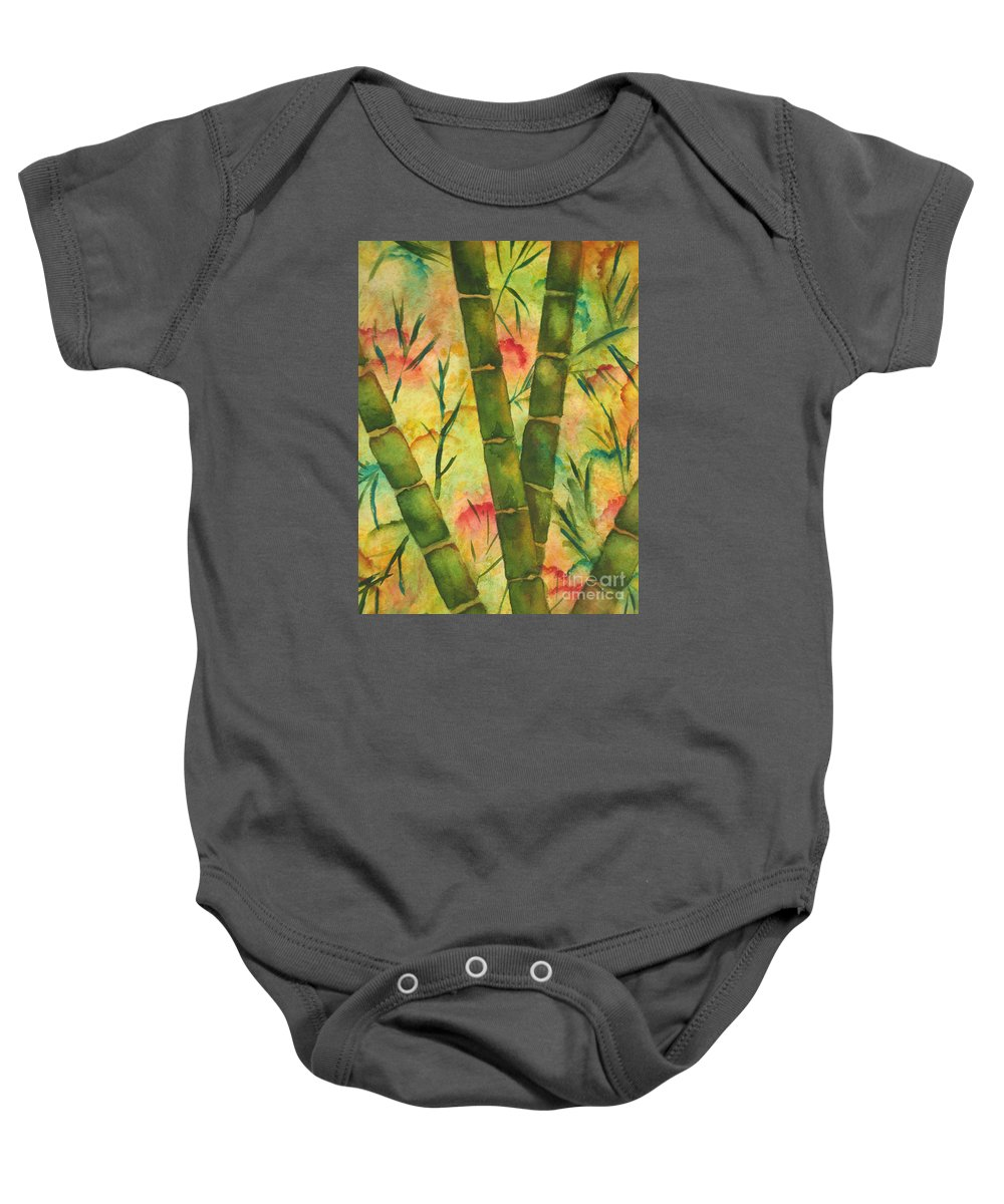 Fine Art Painting Baby Onesie featuring the painting Bamboo Garden by Chrisann Ellis