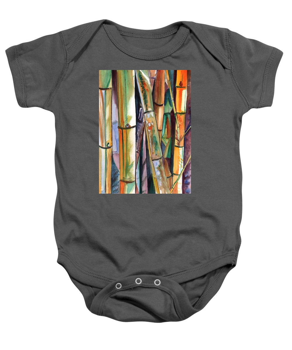 Bamboo Baby Onesie featuring the painting Bamboo Garden by Marionette Taboniar