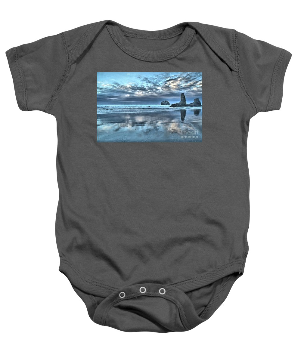 Bandon Beach Baby Onesie featuring the photograph Bandon Towers by Adam Jewell