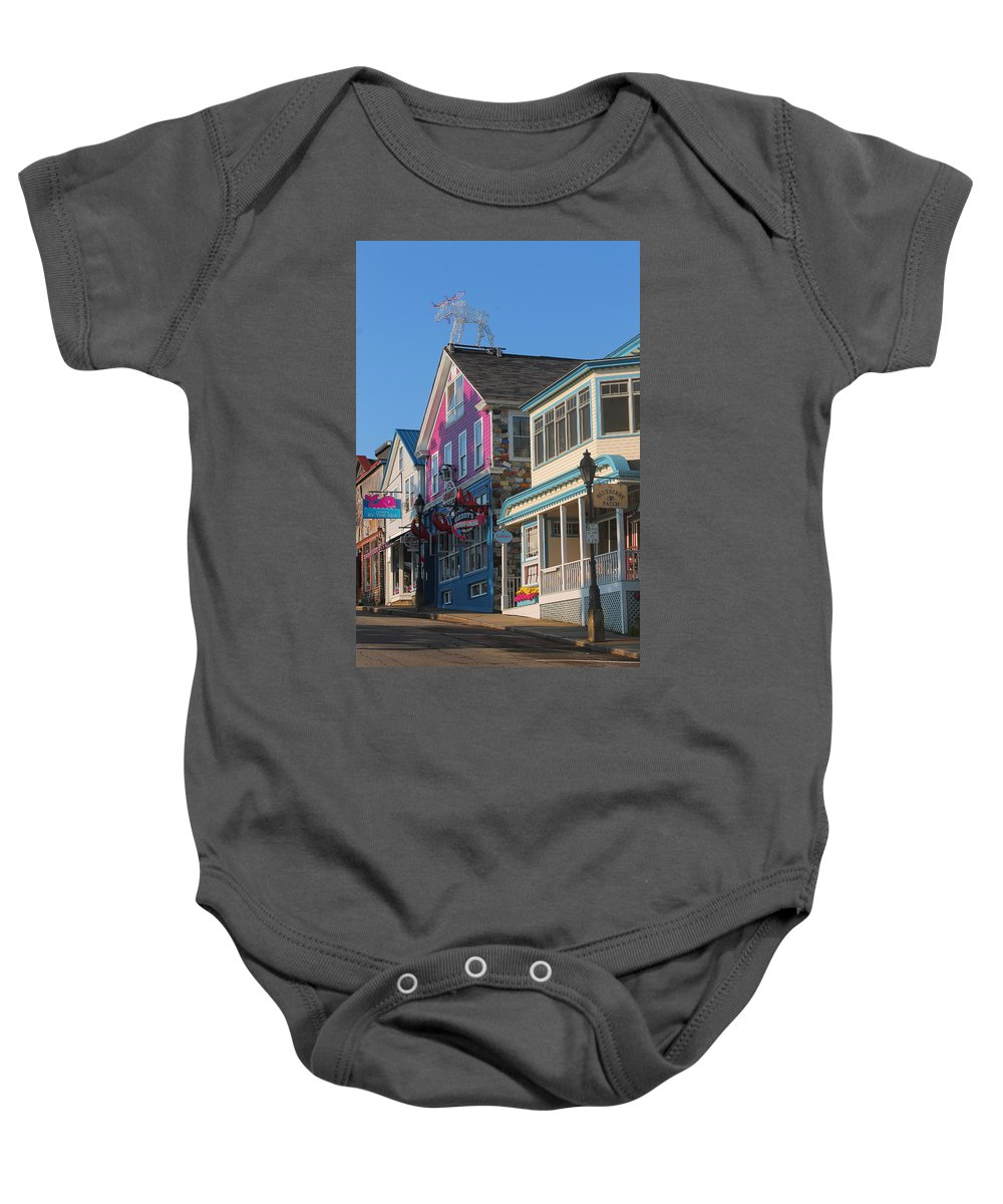 Bar Harbor Baby Onesie featuring the photograph Bar Harbor Downtown by Jeff Heimlich