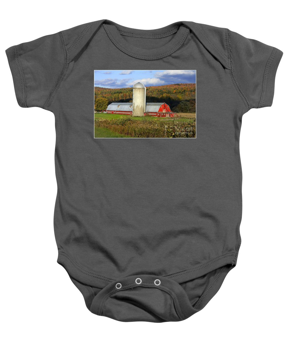 Landscape Baby Onesie featuring the photograph Barn On The River Rd. by Deborah Benoit