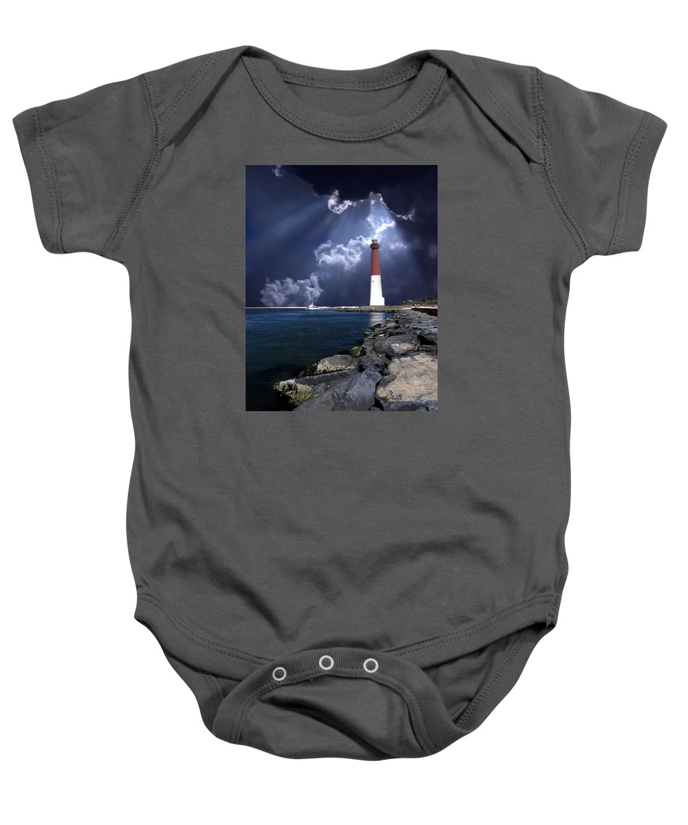 Lighthouse Baby Onesie featuring the photograph Barnegat Inlet Lighthouse Nj by Skip Willits