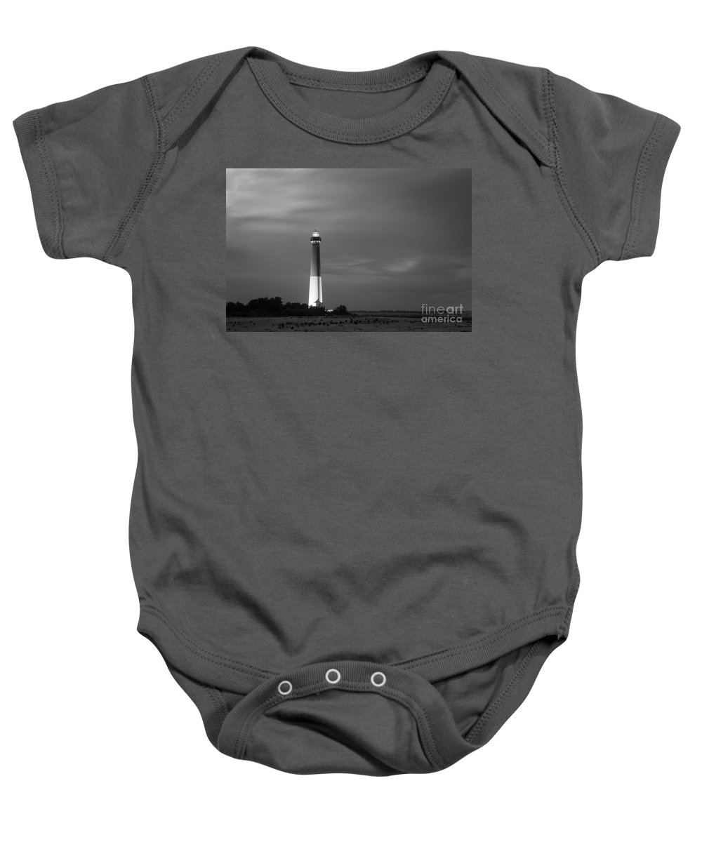 Barnegat Baby Onesie featuring the photograph Barnegat Lighthouse Black And White by Michael Ver Sprill