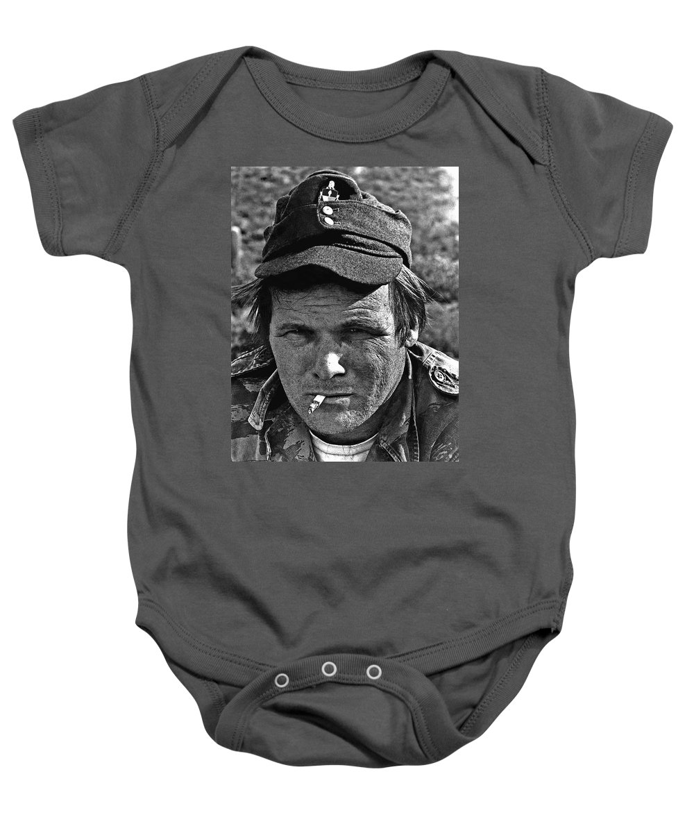 Barry Sadler The Green Berets Homage 1968 Tucson Arizona 1971 Baby Onesie featuring the photograph Barry Sadler The Green Berets Homage 1968 Tucson Arizona 1971-2008 by David Lee Guss