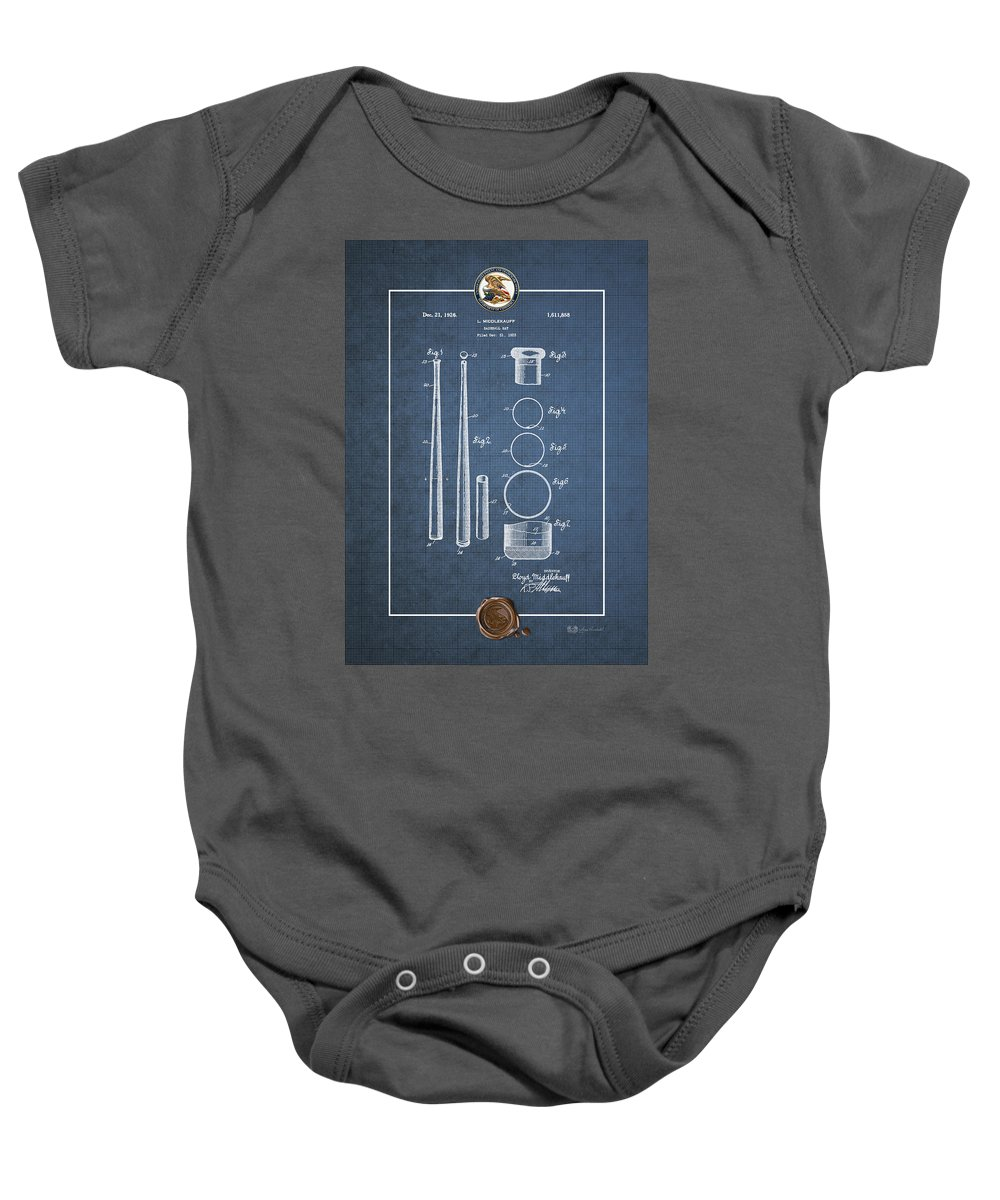 C7 Sports Patents And Blueprints Baby Onesie featuring the digital art Baseball Bat By Lloyd Middlekauff - Vintage Patent Blueprint by Serge Averbukh