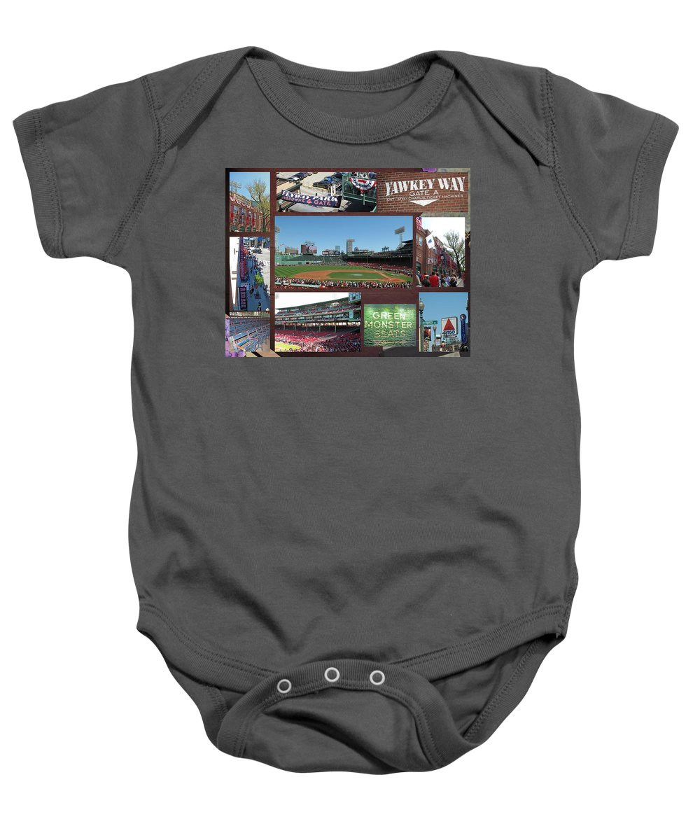 Fenway Baby Onesie featuring the photograph Baseball Collage by Barbara McDevitt