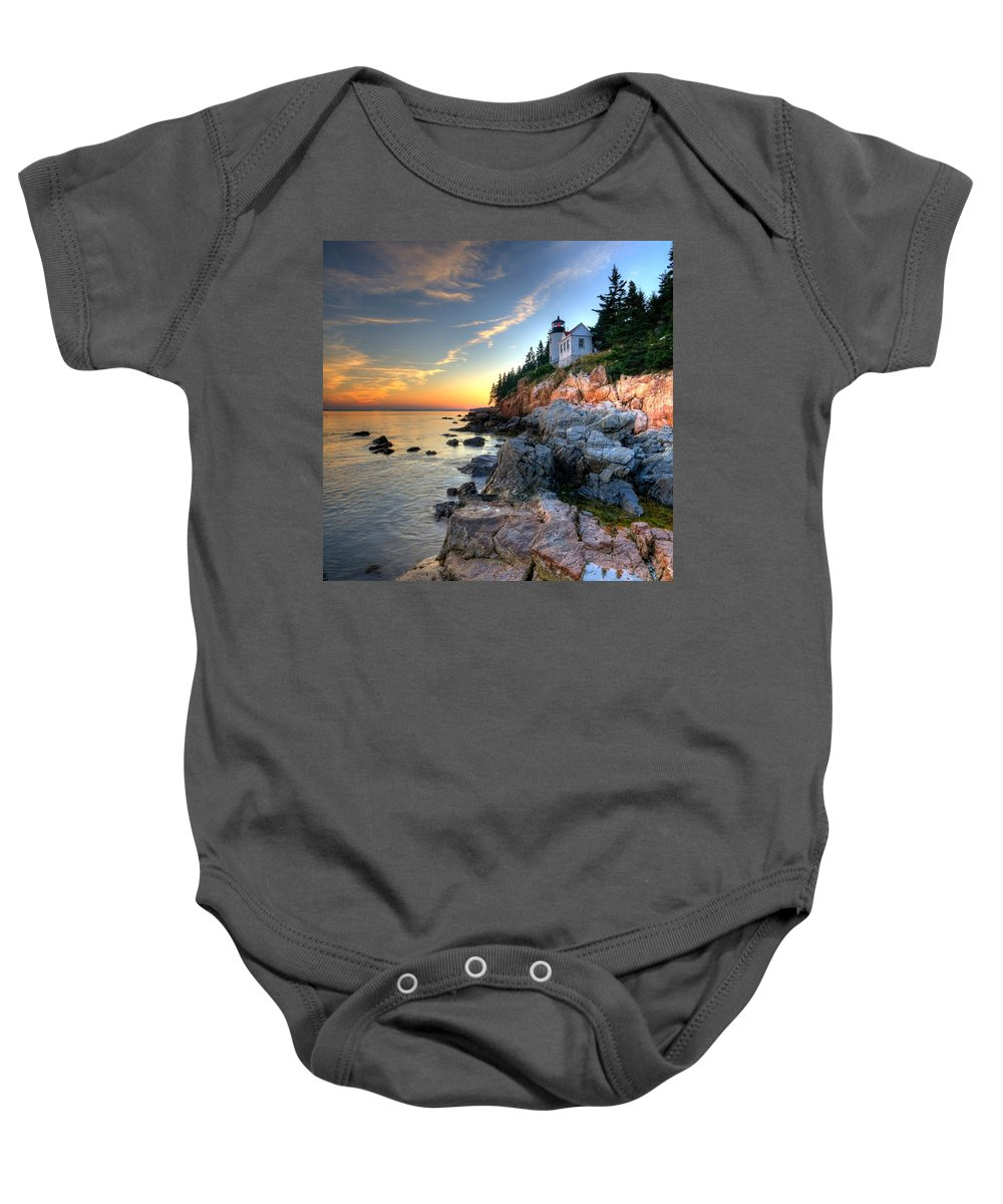 Baby Onesie featuring the photograph Bass Harbor Head Lighthouse Mount Desert Island Maine by Stas Burdan