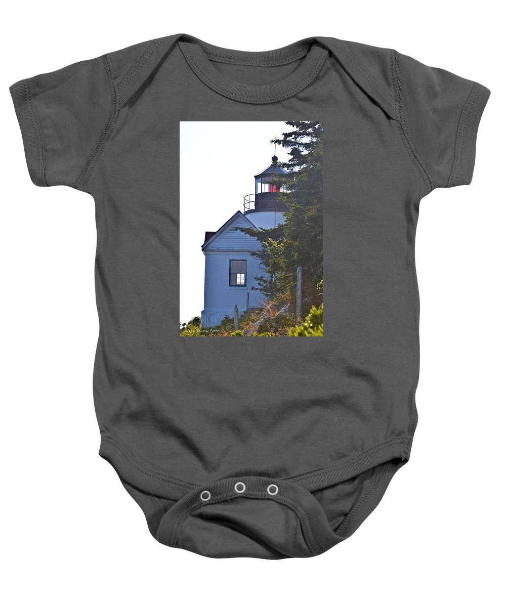 Bass Harbor Headlight Baby Onesie featuring the photograph Bass Harbor Headlight by Tara Potts