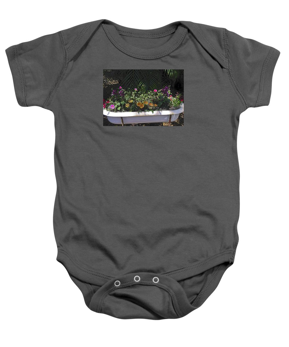 Mixed Flowers Baby Onesie featuring the photograph Bath Tub Flowers by Sally Weigand