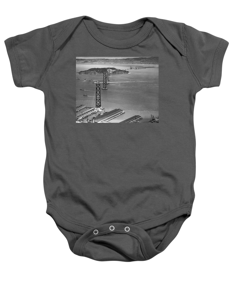 1936 Baby Onesie featuring the photograph Bay Bridge Under Construction by Charles Hiller