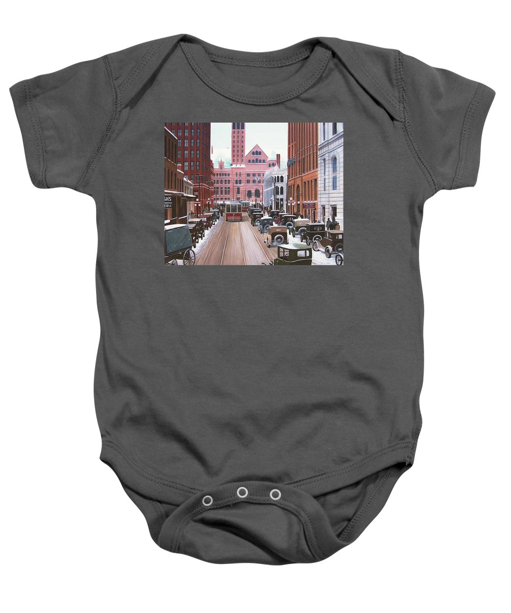 Streetscapes Baby Onesie featuring the painting Bay Street Christmas Eve 1924 by Kenneth M Kirsch