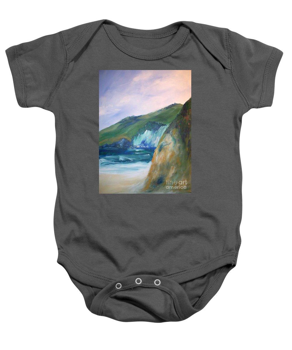 California Coast Baby Onesie featuring the painting Beach California by Eric Schiabor