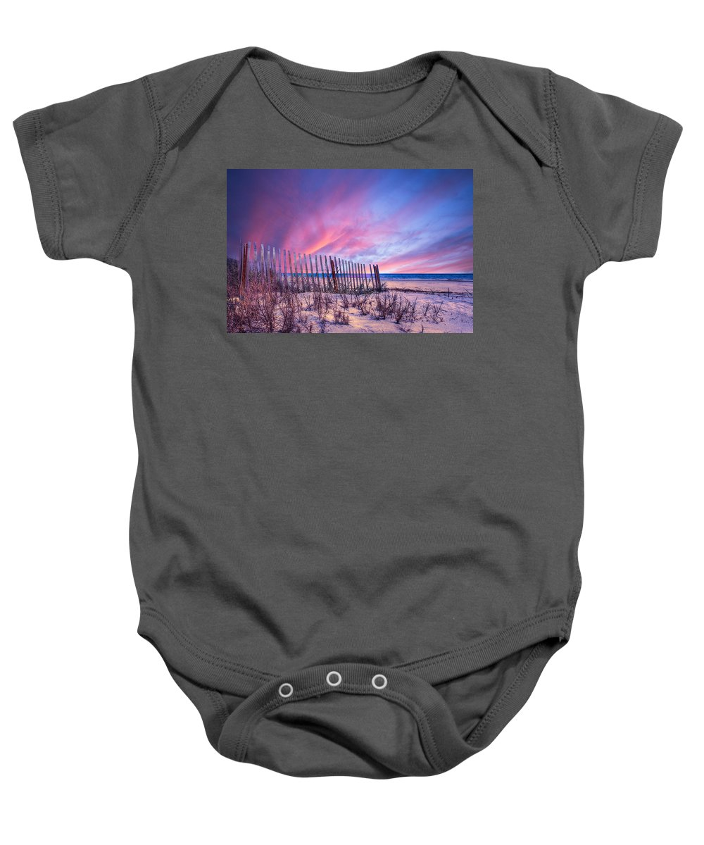 Clouds Baby Onesie featuring the photograph Beach Fences by Debra and Dave Vanderlaan
