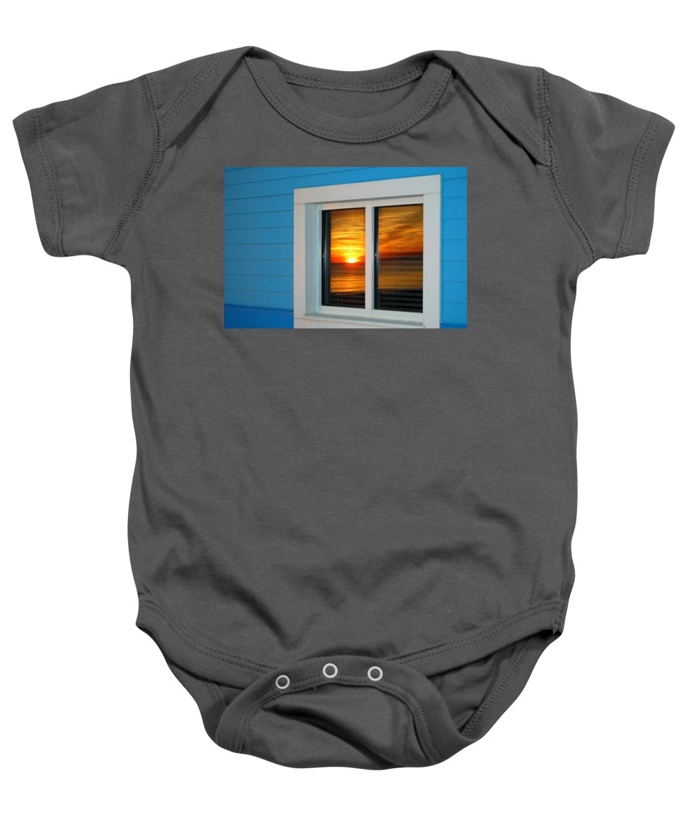 Window Baby Onesie featuring the photograph Beach Reflections by May Photography