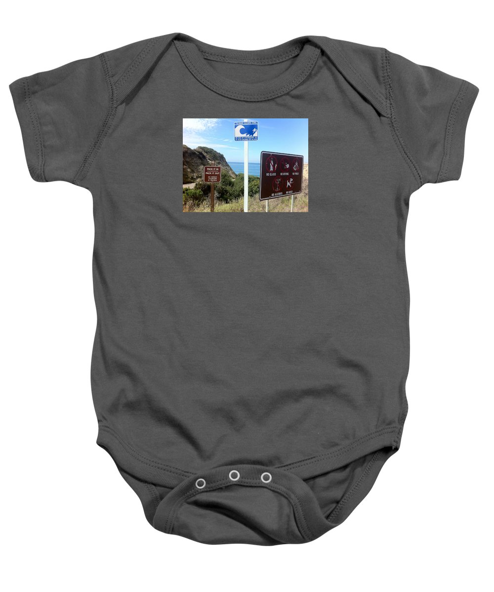 Signsprint Framed Prints Baby Onesie featuring the photograph Beach Signs San Clemente by Paul Carter