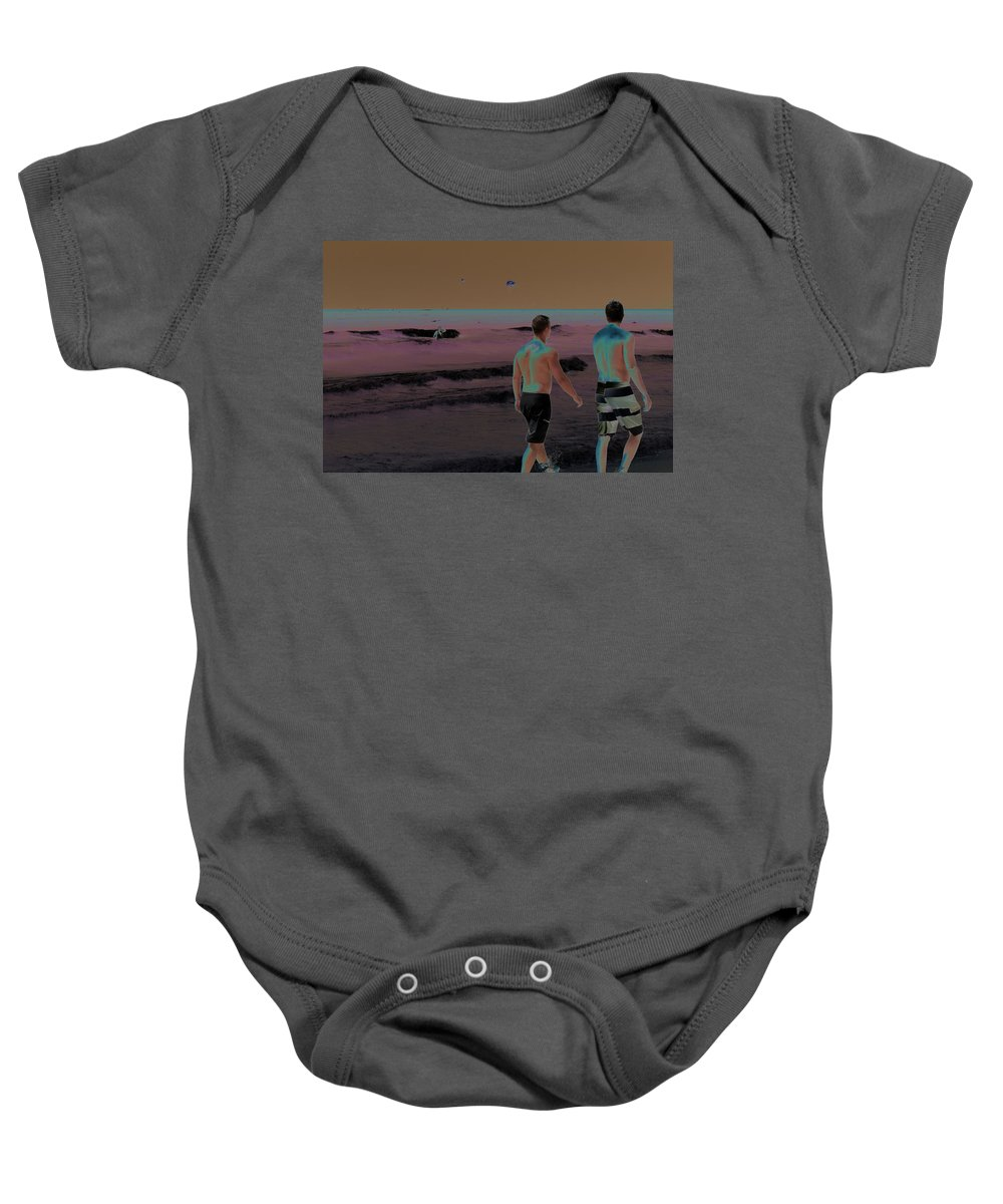 Horizontal Baby Onesie featuring the photograph Beach Solar Series Xi Woman Swimming Usa by Sally Rockefeller