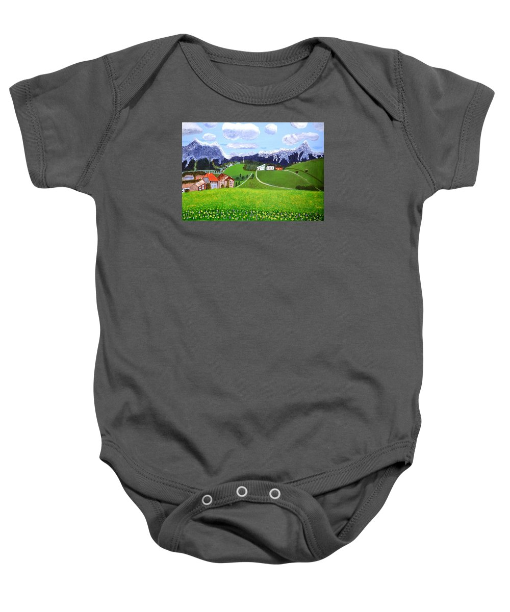 Cloud Baby Onesie featuring the painting Beautiful Norway by Magdalena Frohnsdorff