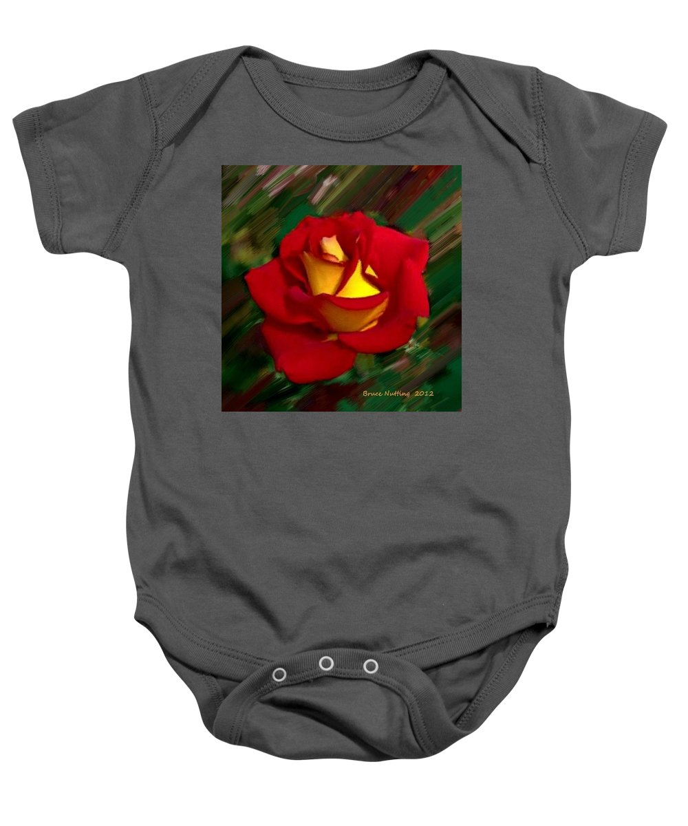 Rose Baby Onesie featuring the painting Beautiful Red Rose by Bruce Nutting