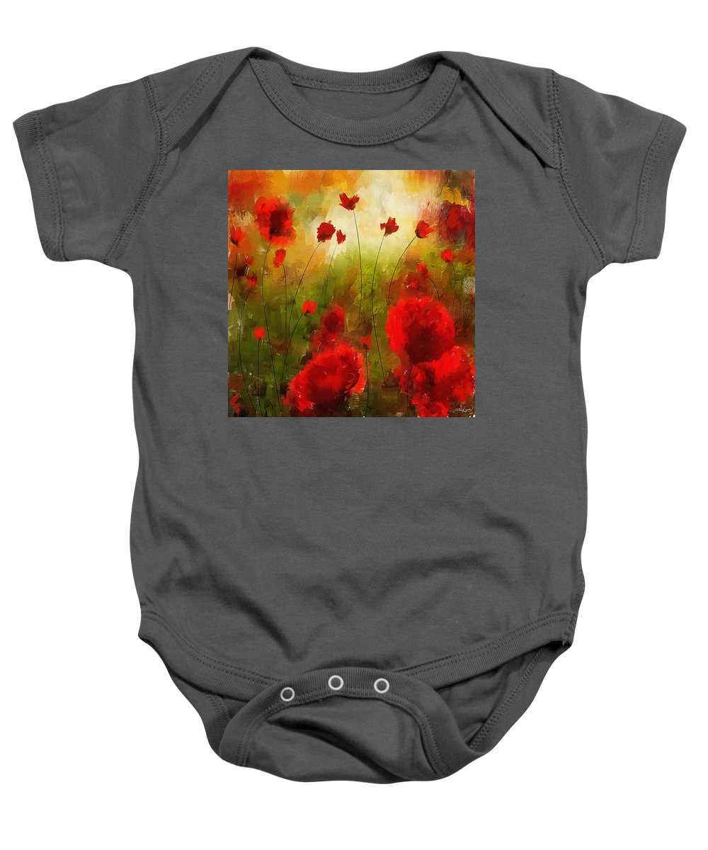Poppies Baby Onesie featuring the painting Beauty In Bloom by Lourry Legarde