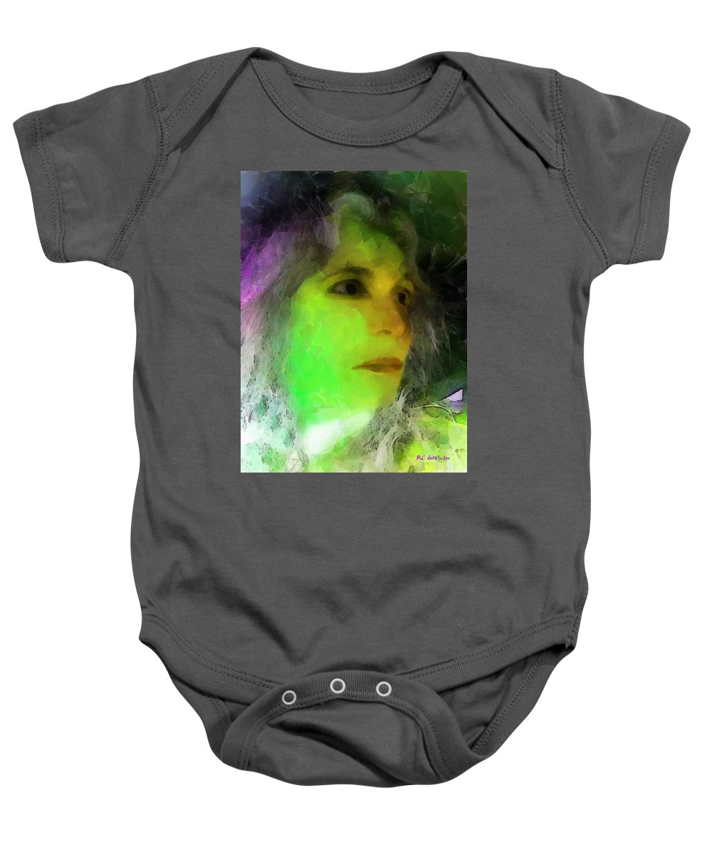 Woman Baby Onesie featuring the painting Becoming Elphaba by RC DeWinter