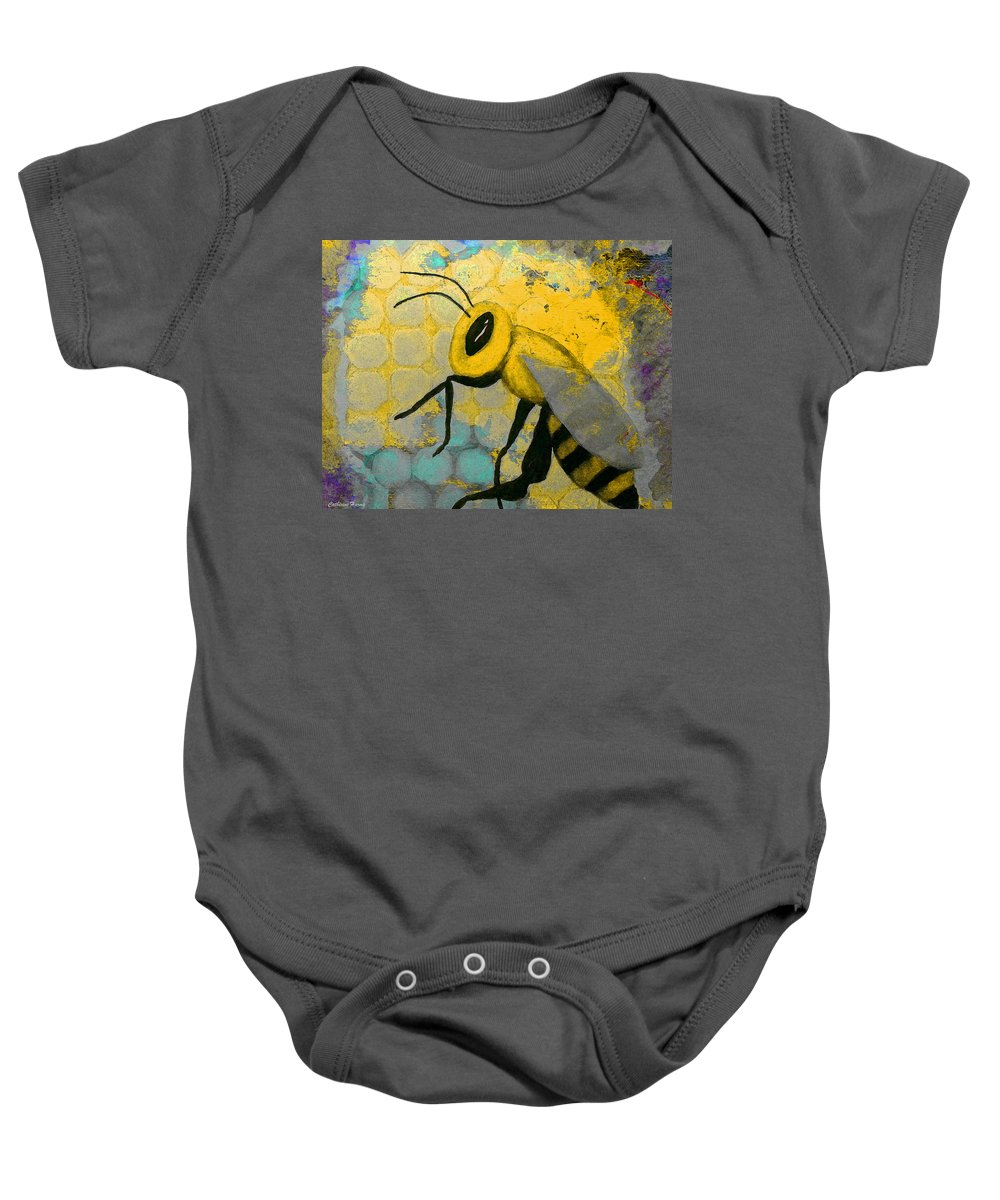 Honey Bee Baby Onesie featuring the mixed media Bee Aware by Catherine Harms