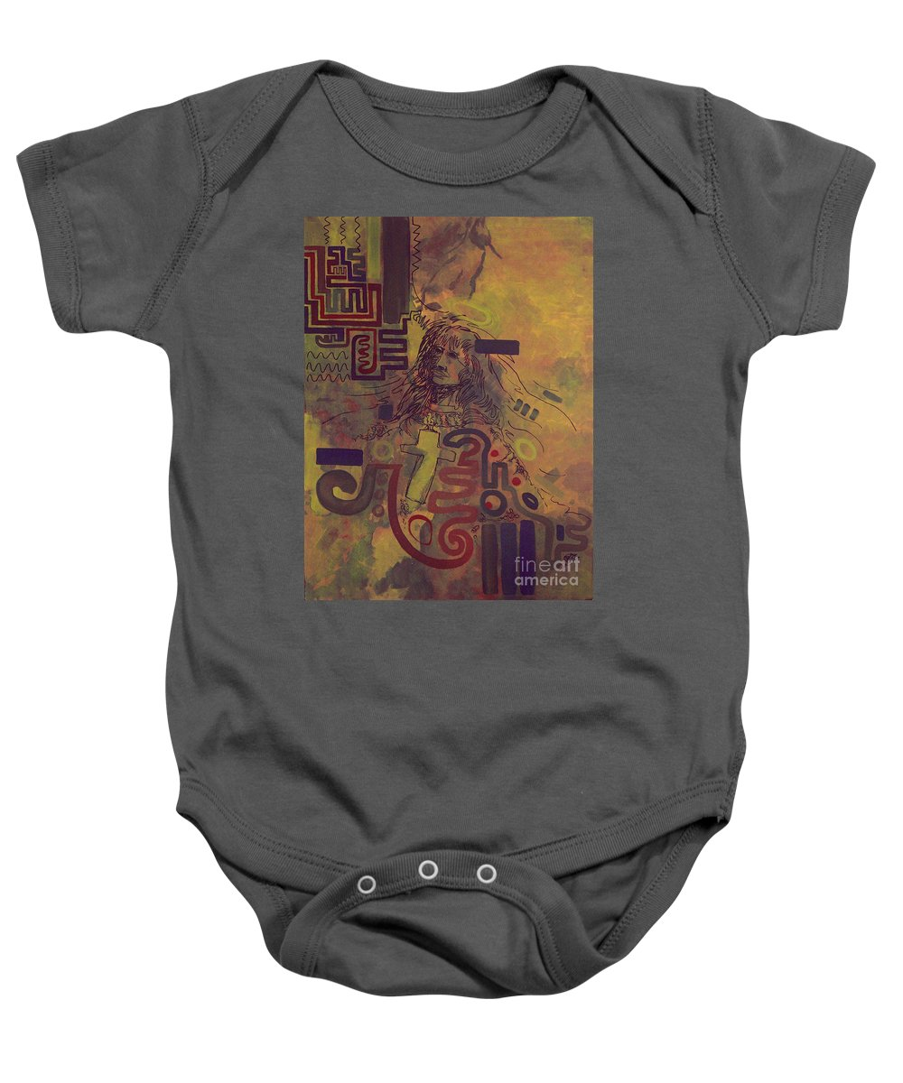 Abstract Baby Onesie featuring the painting Before And After by Tonya Henderson