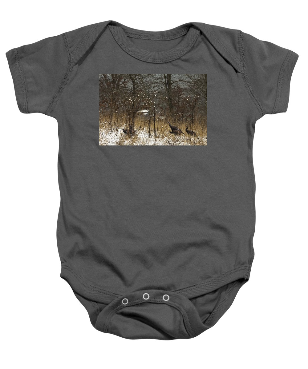 Winter Baby Onesie featuring the photograph Behind The Barn by Ron Jones