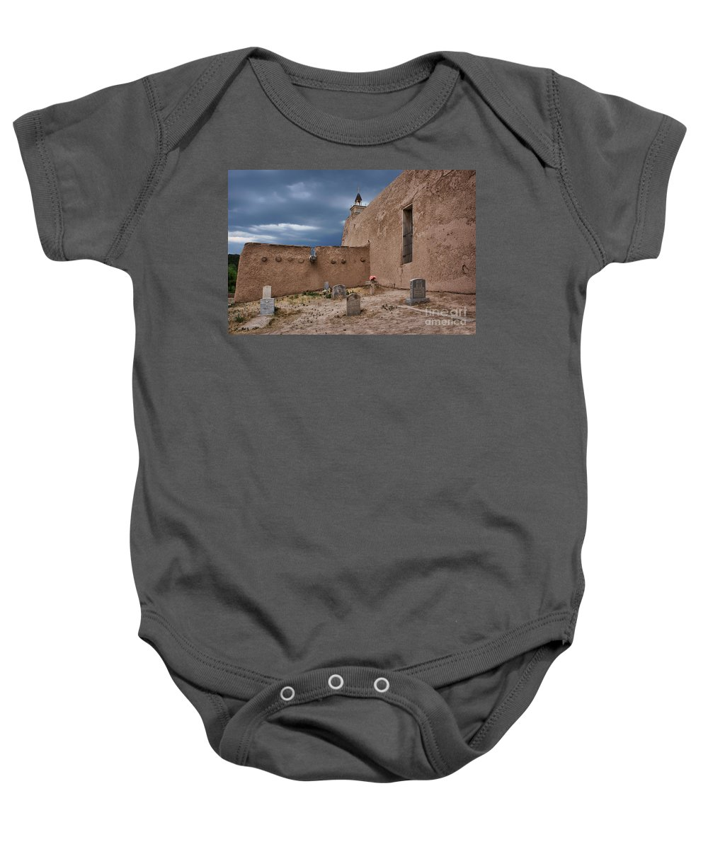Adobe Baby Onesie featuring the photograph Behind The Church by Nikolyn McDonald