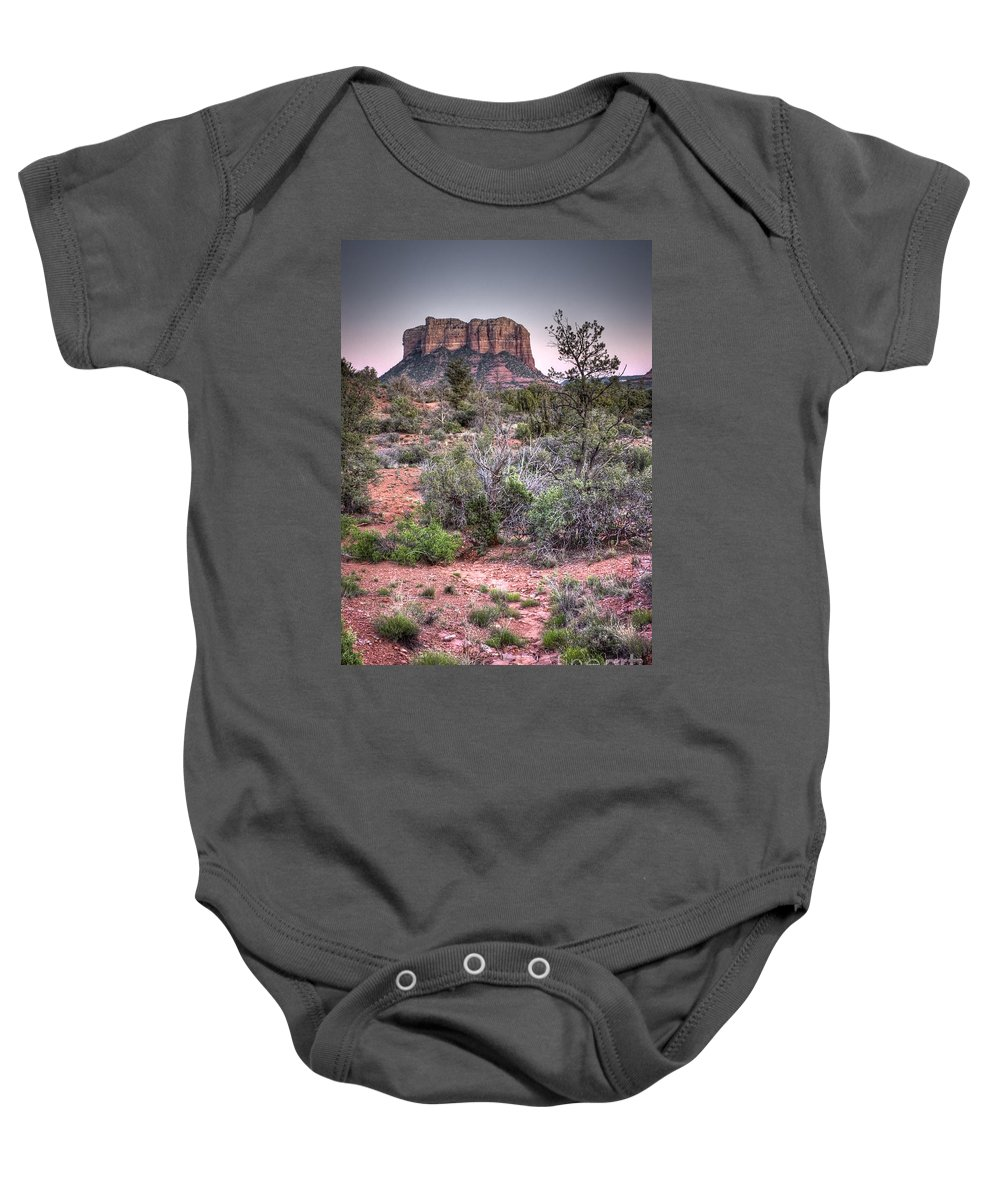 Bell Rock Baby Onesie featuring the photograph Bell Rock At Dusk by Bryan Keil