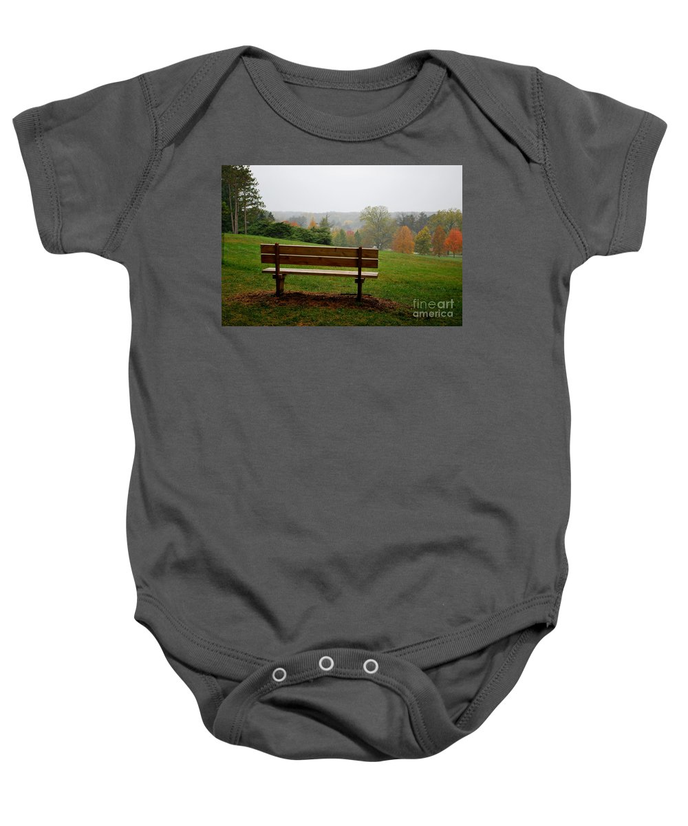 Bench Baby Onesie featuring the photograph Bench at the Morton Arboretum by Nancy Mueller