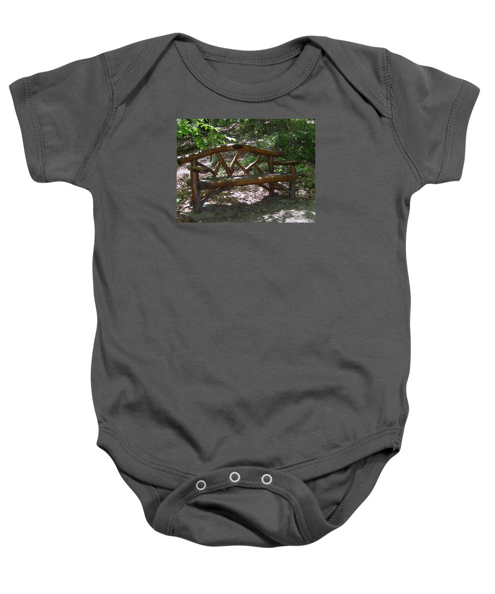 Framingham Baby Onesie featuring the photograph Bench Made Of Tree Branches by Catherine Gagne