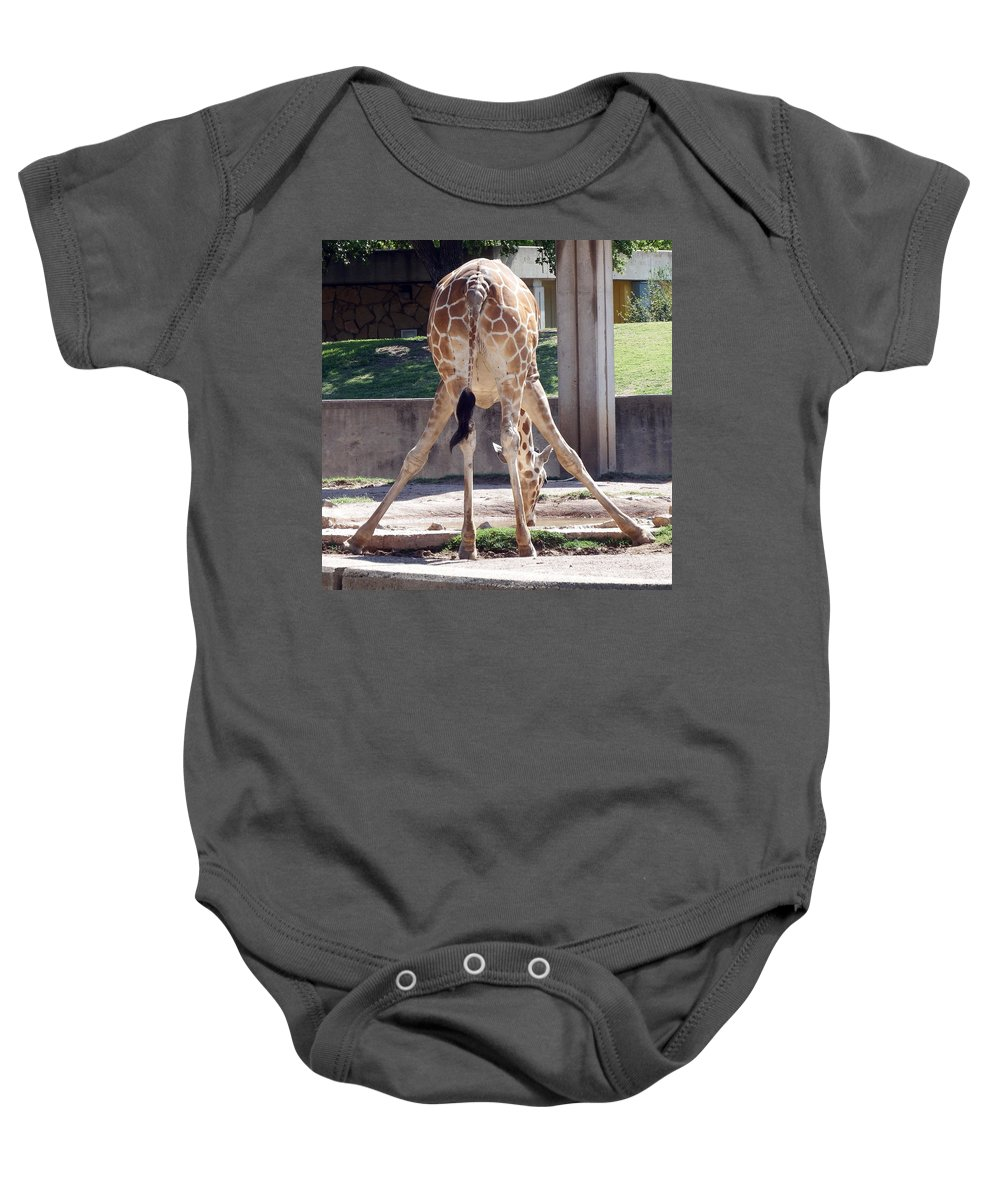 Giraffe Baby Onesie featuring the photograph Bending For Drink by David G Paul