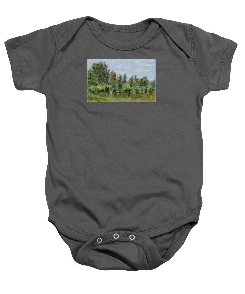 Nature Baby Onesie featuring the painting Benson Sculpture Park by Mary Benke