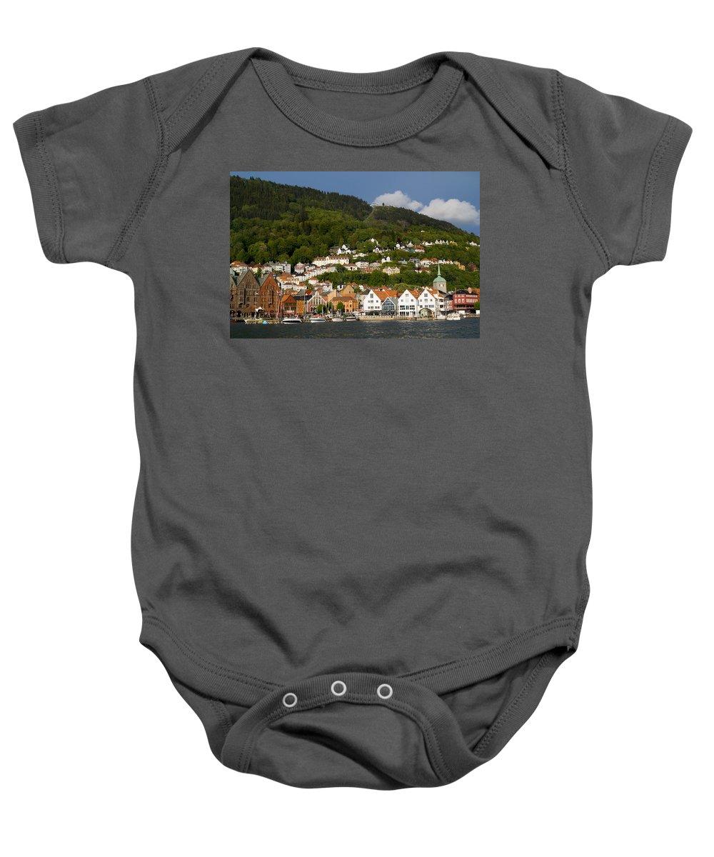 Bergen Baby Onesie featuring the photograph Bergen Harbor by Benjamin Reed
