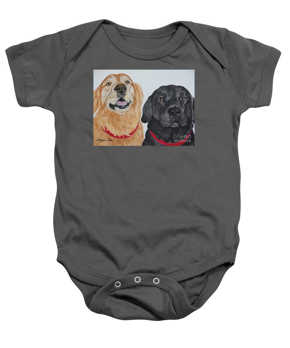 Dogs Baby Onesie featuring the painting Best Buds by Megan Cohen