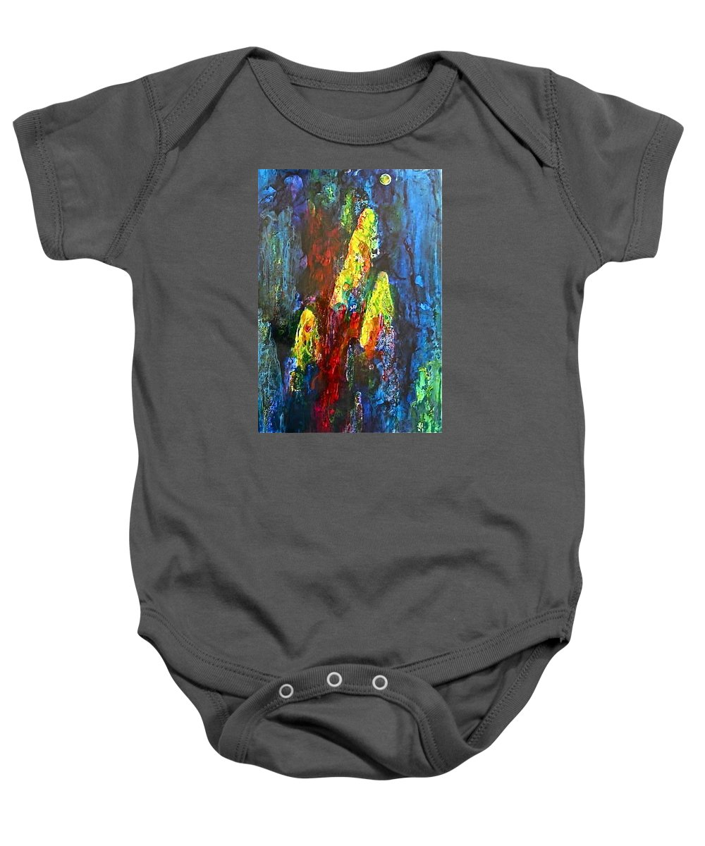 Moon Baby Onesie featuring the painting Beyond The Moon by Janice Nabors Raiteri
