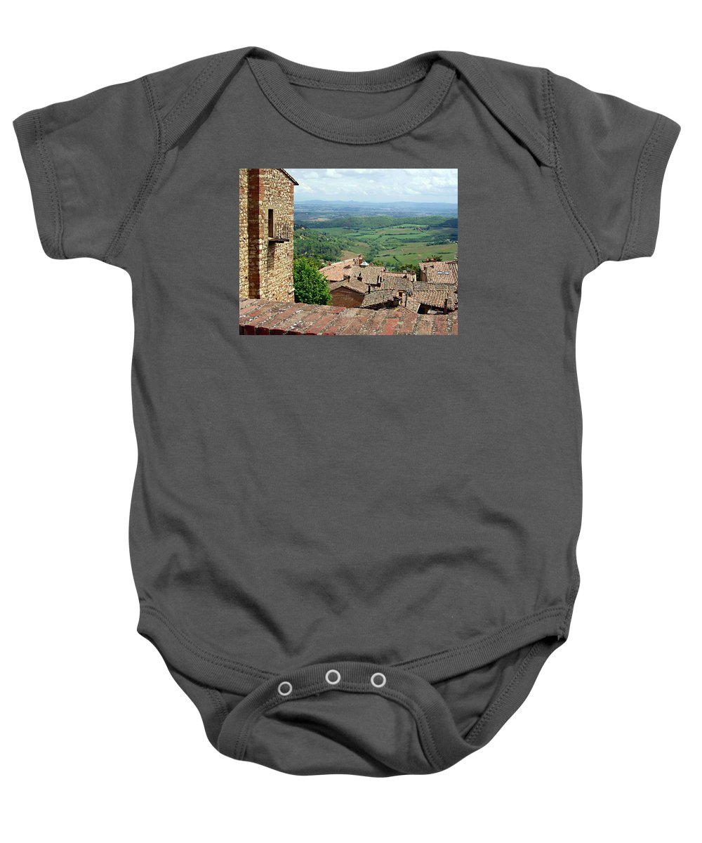 Beyond The Rooftops Baby Onesie featuring the photograph Beyond The Rooftops 1 by Ellen Henneke