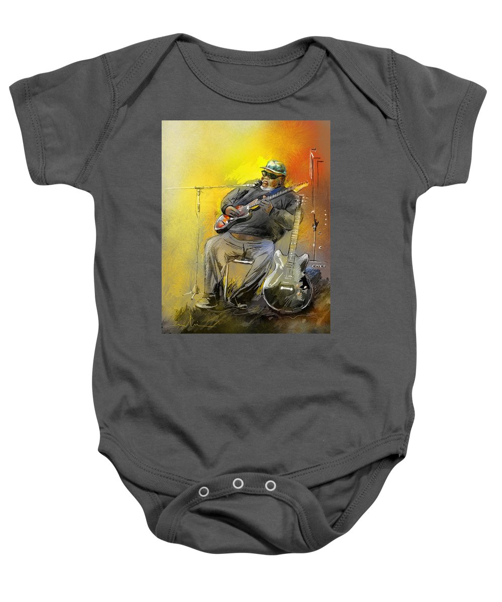 Blues Baby Onesie featuring the painting Big Jerry In Memphis by Miki De Goodaboom