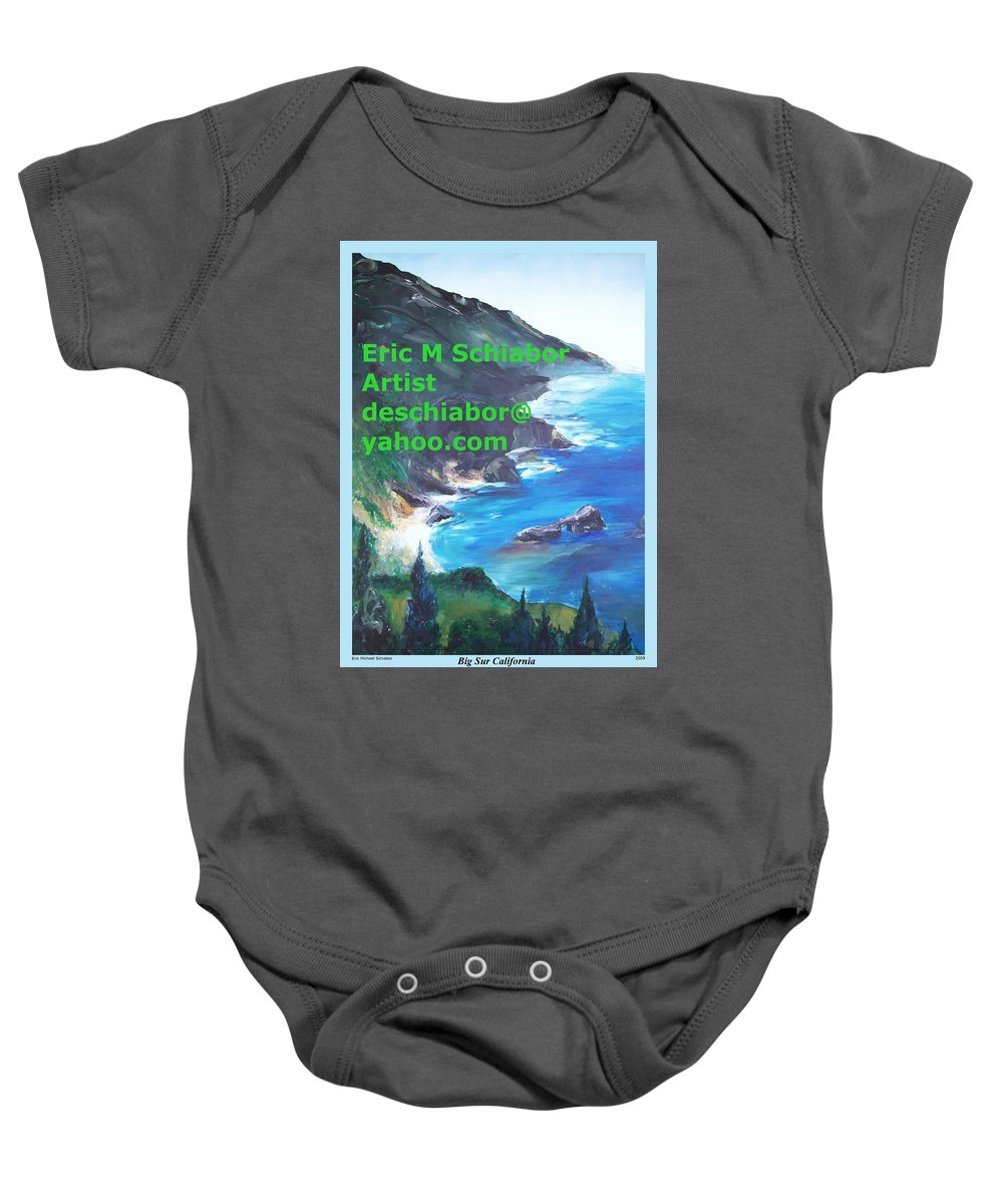 Big Sur Baby Onesie featuring the painting Big Sur Califorina by Eric Schiabor