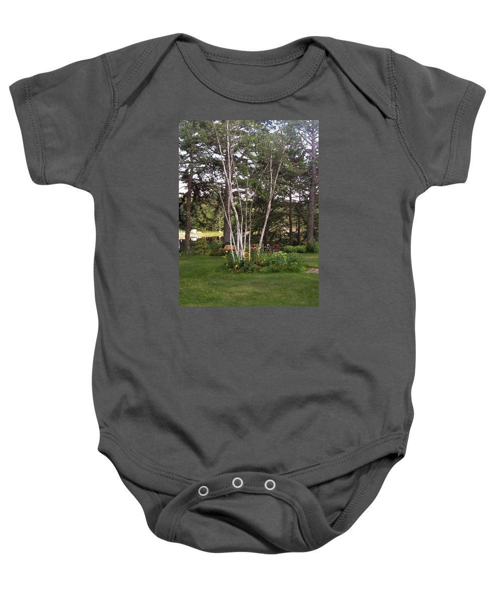 Birch Trees Baby Onesie featuring the photograph Birch Trees by Catherine Gagne
