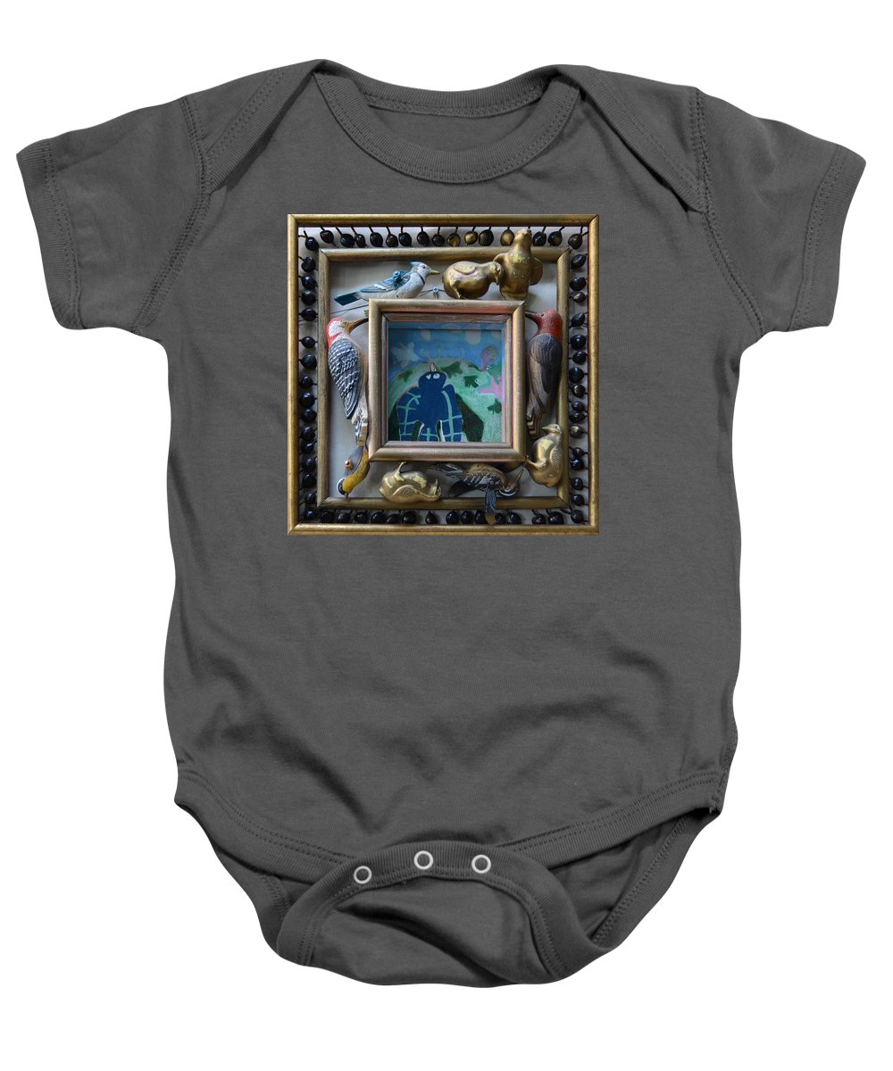 Outsider Abstract Modern Lawn Bird Blue Shadows Landscape Scenery Nature Trees Vision Folk Raw Baby Onesie featuring the painting Bird Shadows - Framed by Nancy Mauerman