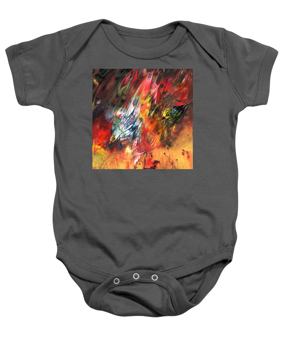 Animals Baby Onesie featuring the painting Birds On Fire by Miki De Goodaboom