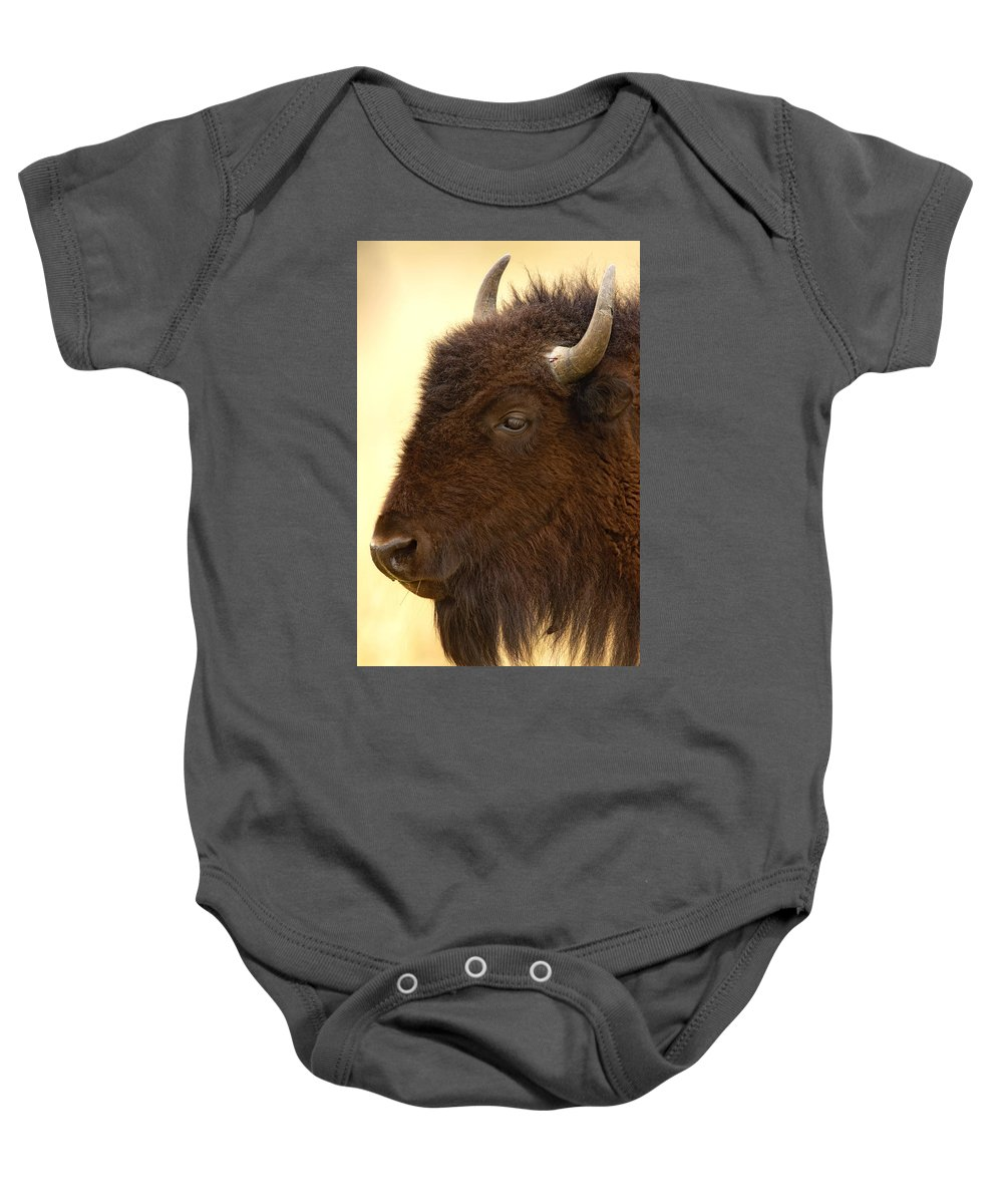 American Baby Onesie featuring the photograph Bison by Jack Milchanowski