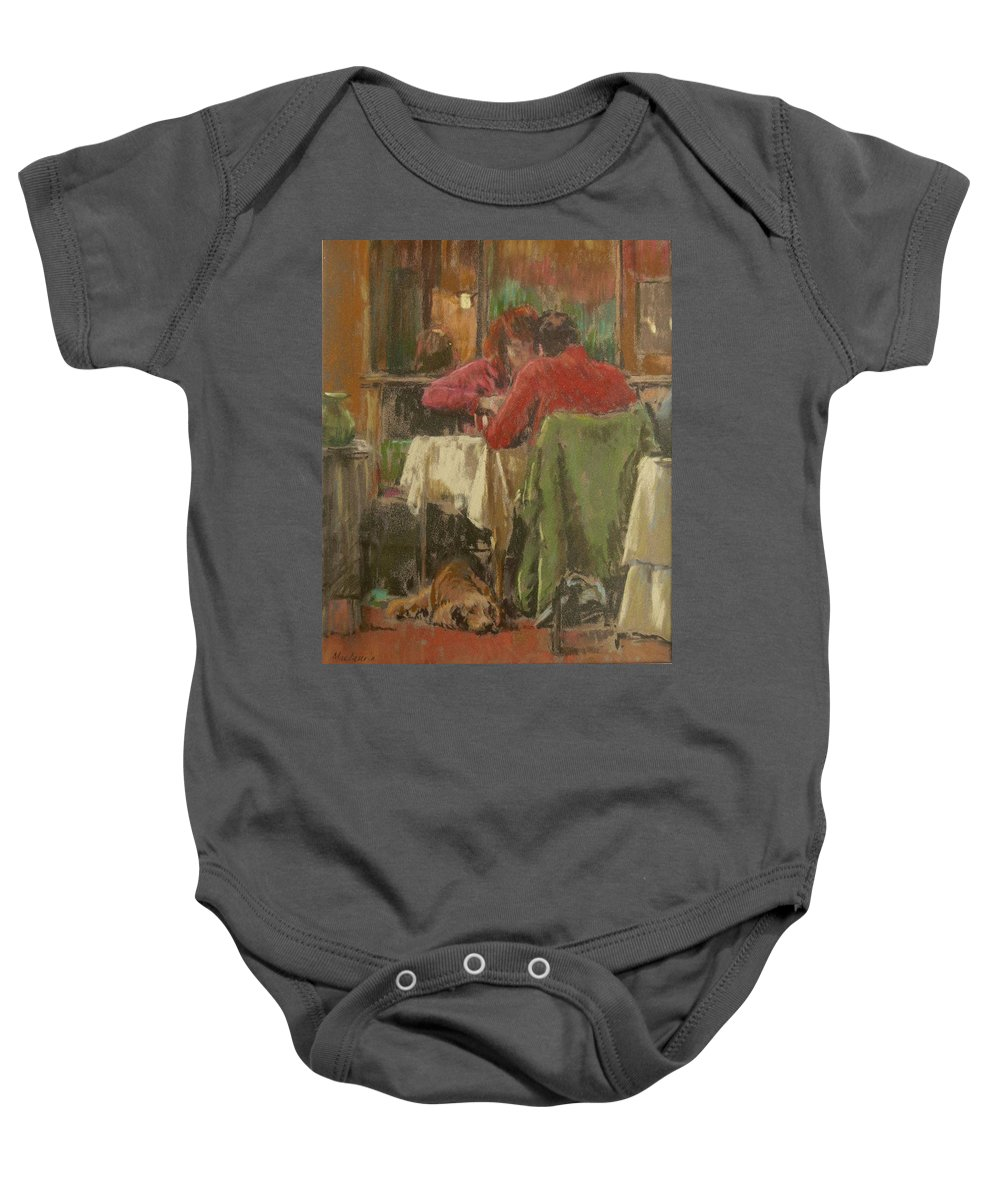 Male Baby Onesie featuring the photograph Bistro In Beziers, 2007 Pastel On Paper by Pat Maclaurin