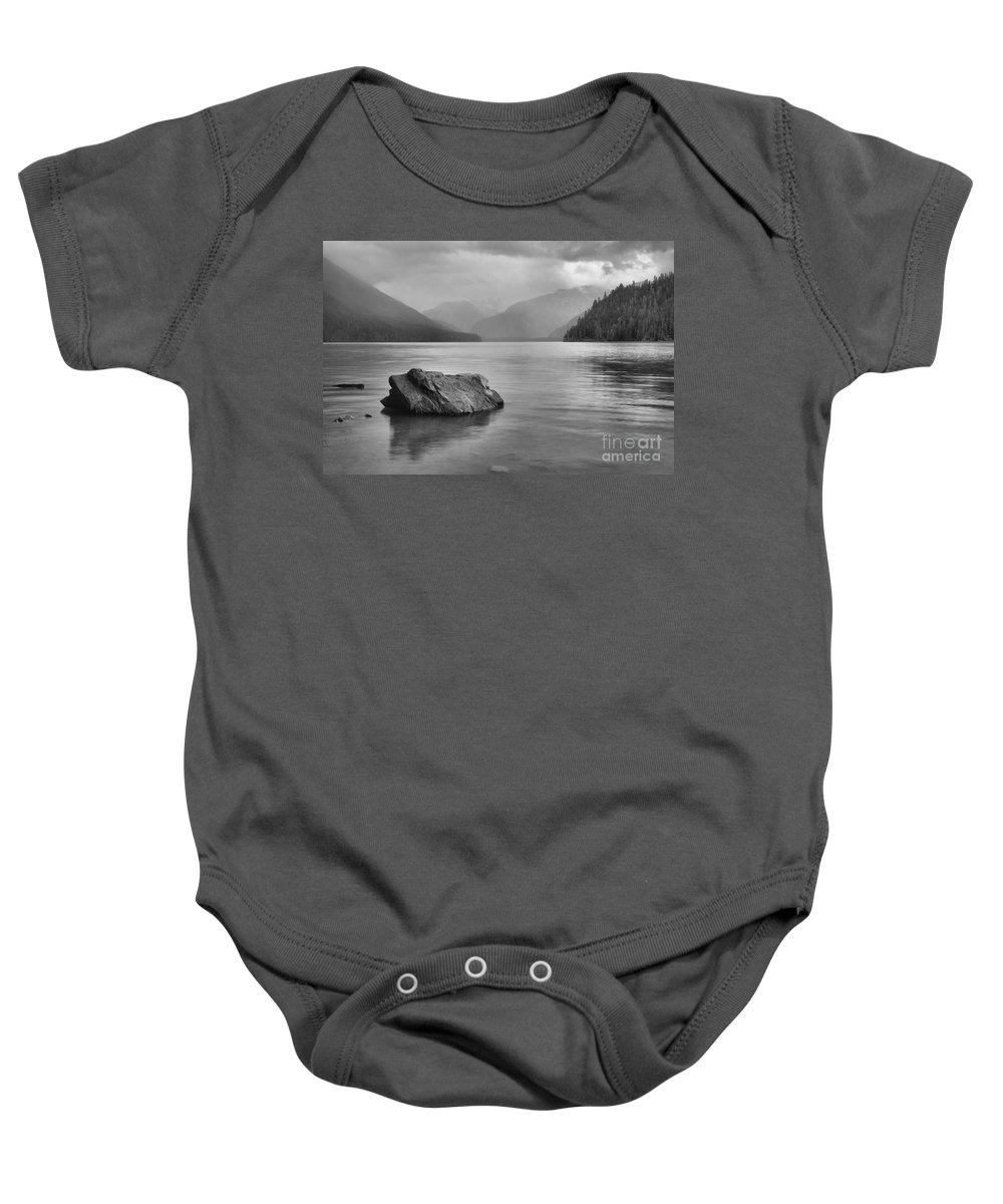 Cheakamus Lake Baby Onesie featuring the photograph Black And White Cheakamus Lake by Adam Jewell
